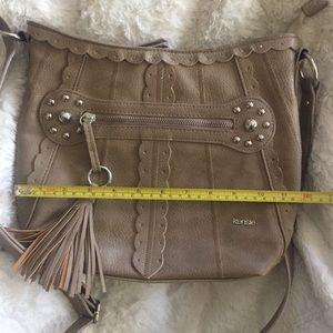 Tan Kenzie Long Strap Faux Leather Purse & Tassel